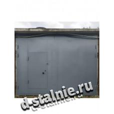 Стальные ворота с калиткой 00-28, Краска + Краска