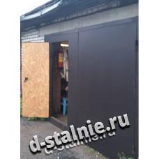 Стальные ворота с калиткой 00-14, Краска + ДСП