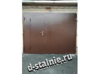Стальные ворота с калиткой 00-11, Грунт + Грунт