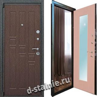 Стальная дверь М-04, МДФ + МДФ с зеркалом