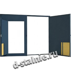 Гаражные ворота с 2-х сторон металл: с калиткой