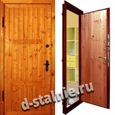 Стальная дверь Э-07, Вагонка + Вагонка