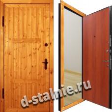 Стальная дверь Э-06, Вагонка + Ламинат