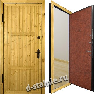 Стальная дверь Э-05, Вагонка + Винилискожа